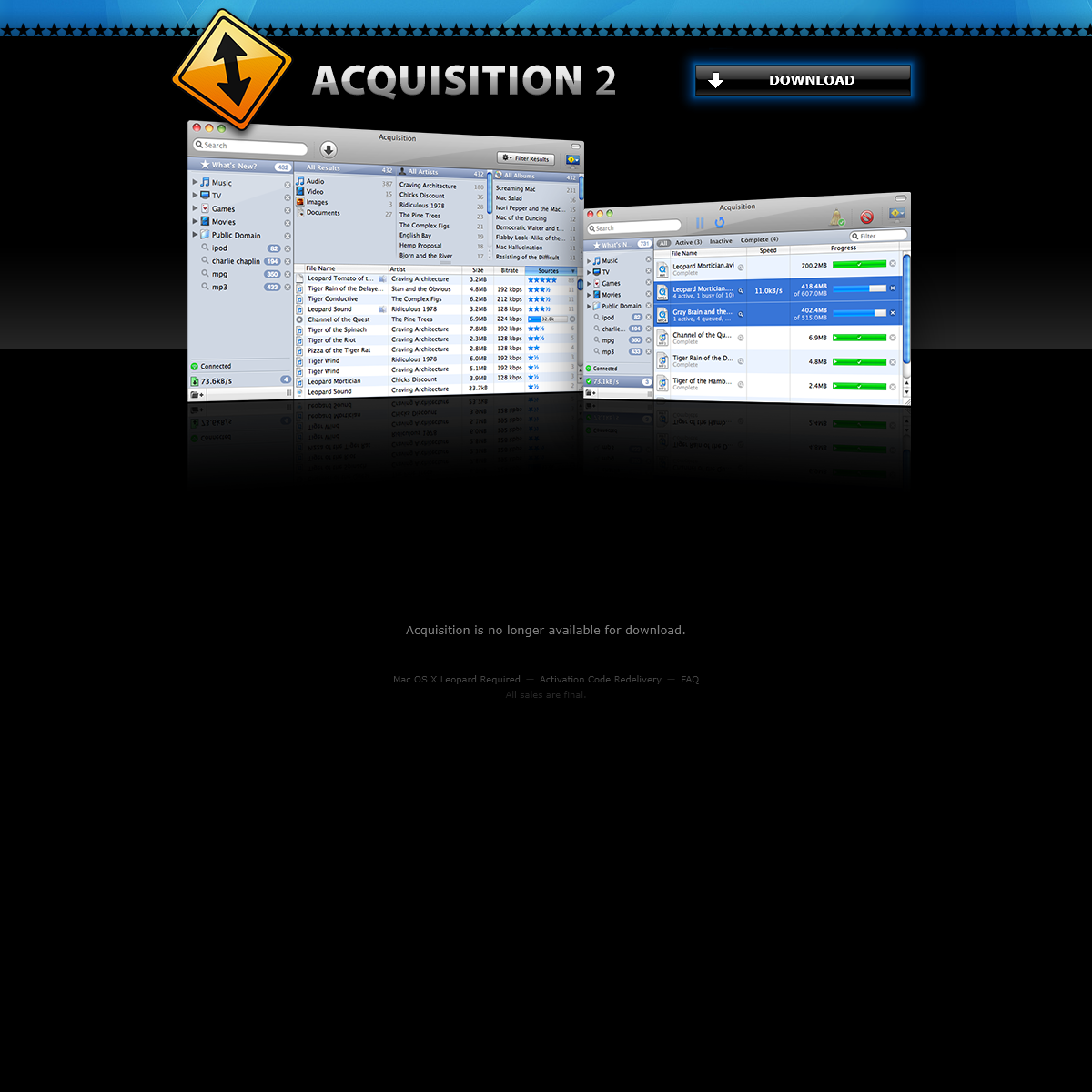 Acquisition P2P (for Mac OS X)