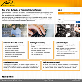 SoSci Survey ‣ the Professional Solution for Your Online Survey