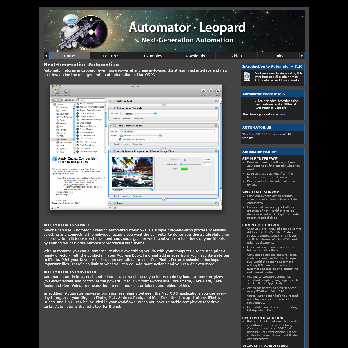 Automator in Leopard