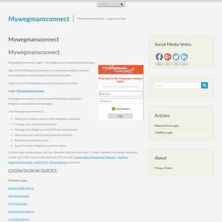 Mywegmansconnect - My Wegmans Connect Login