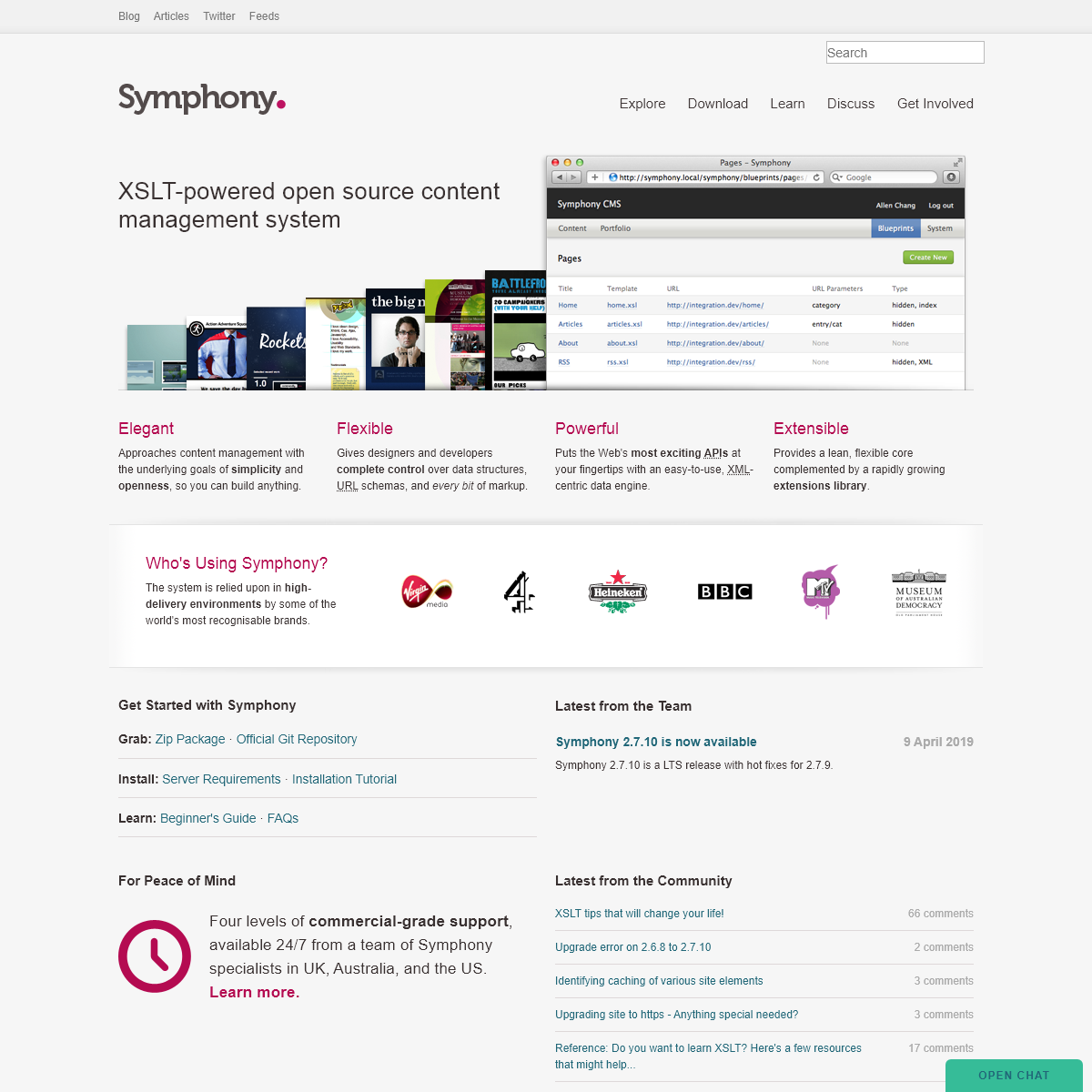 Symphony. An open source CMS.