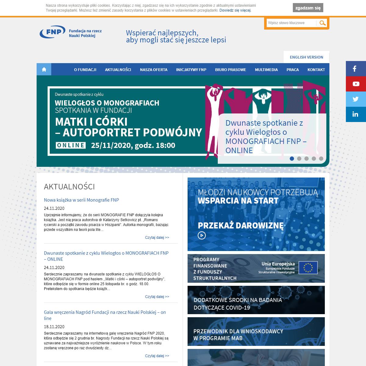 Fundacja na rzecz Nauki Polskiej - Wspierać najlepszych aby mogli stać się jeszcze lepsiFundacja na rzecz Nauki Polskiej