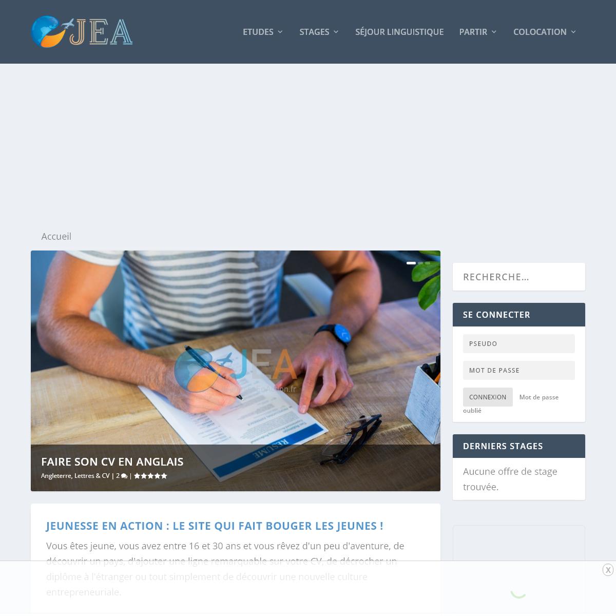 Jeunesse en action, média d`information pour partir à l`étranger – JEA