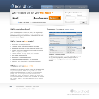 Boardhost- Create a free forum or message board. Reliable, remotely hosted.