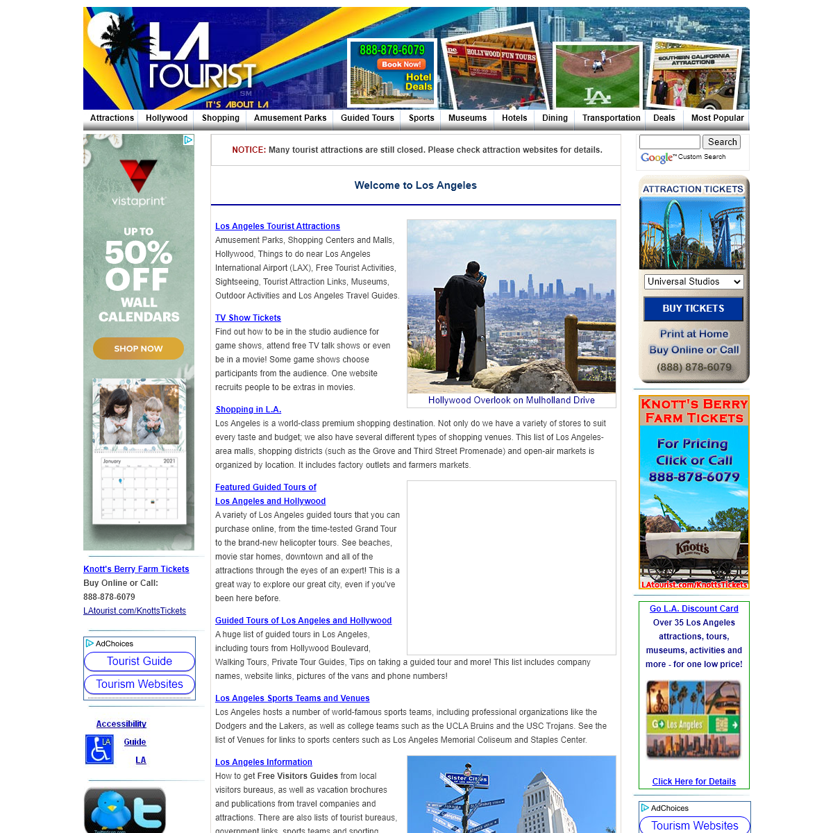 Los Angeles Tourist Information, Attractions and Activities
