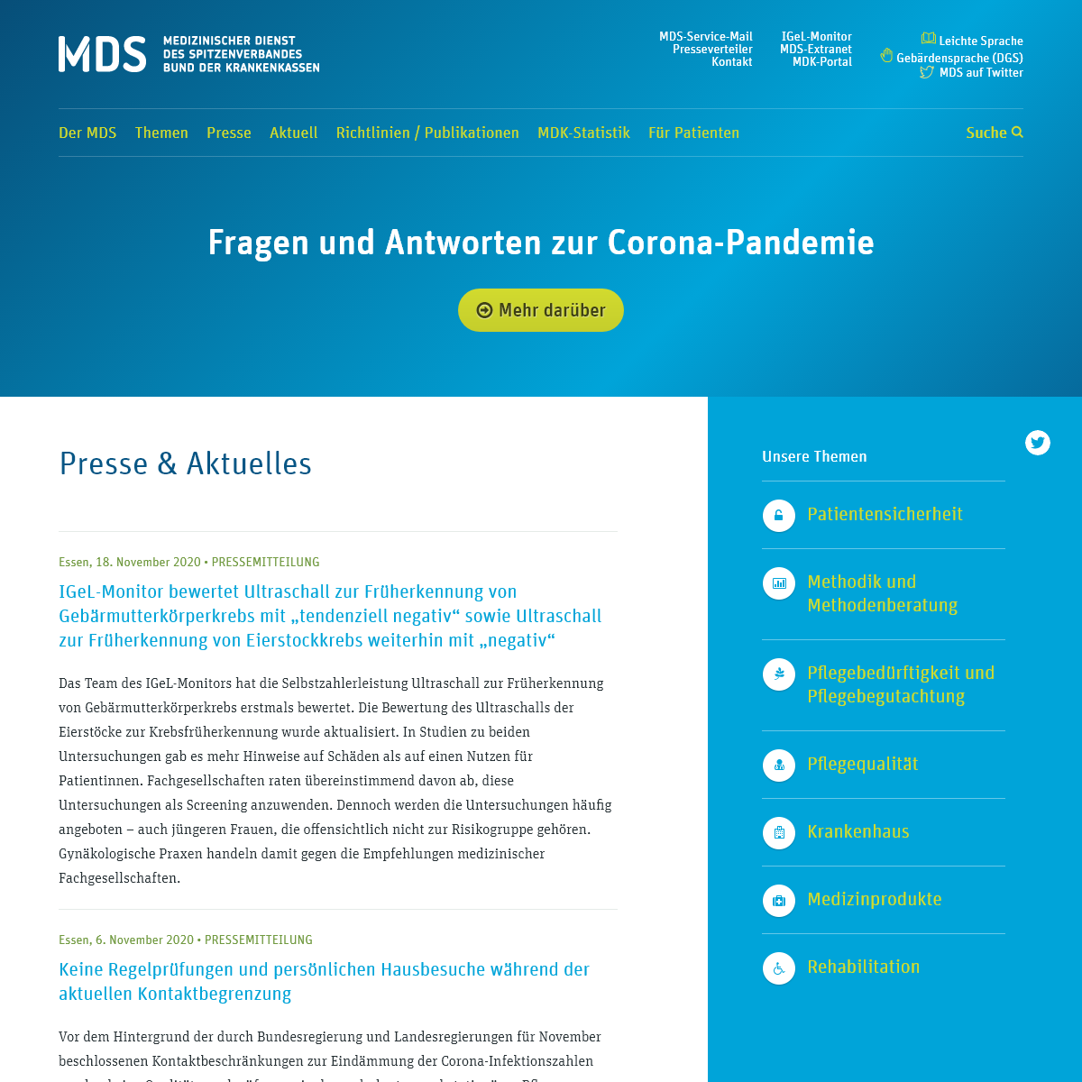 MDS Startseite