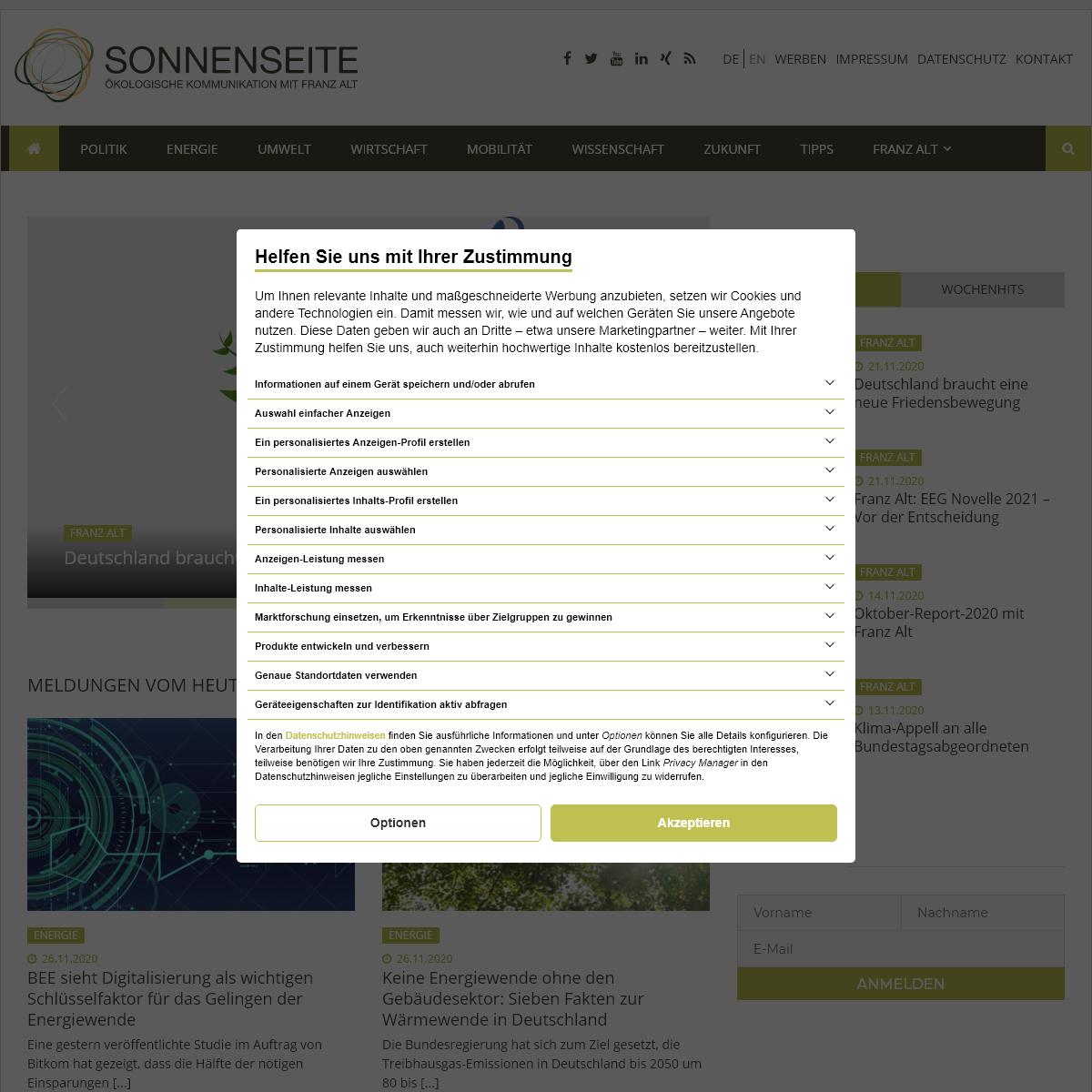 Home - Sonnenseite - Ökologische Kommunikation mit Franz Alt
