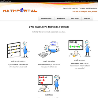 Free math calculators, formulas, lessons, math tests and homework help