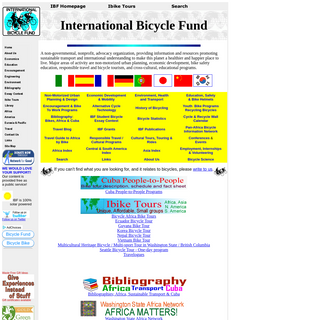International Bicycle Fund- Promoting bicycle transport and economic development and cultural understanding worldwide