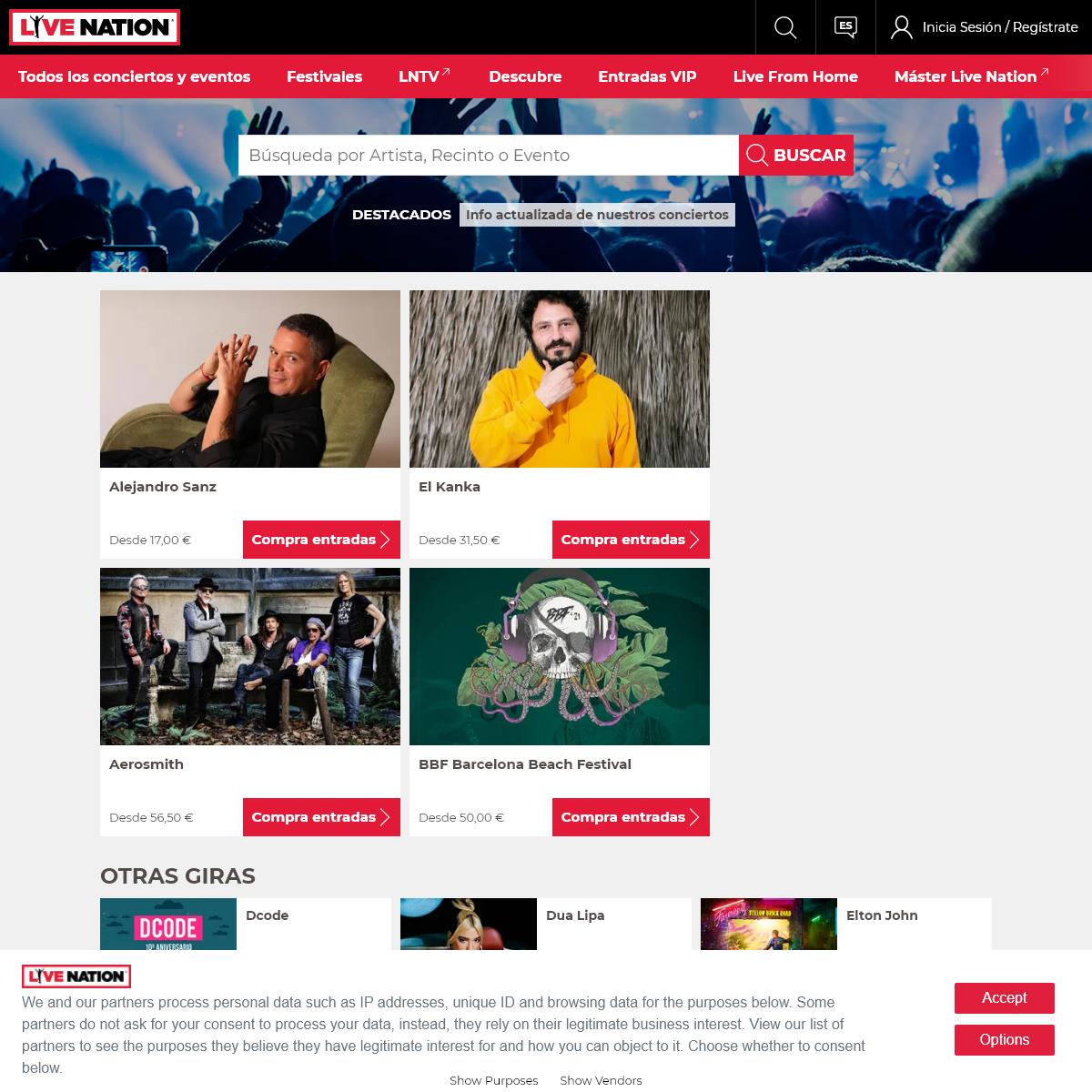 Entradas de conciertos y fechas de giras - Live Nation Espana
