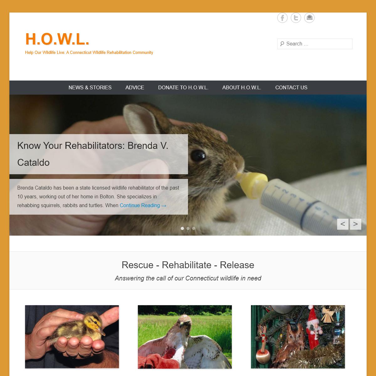 H.O.W.L. – Help Our Wildlife Live- A Connecticut Wildlife Rehabilitation Community