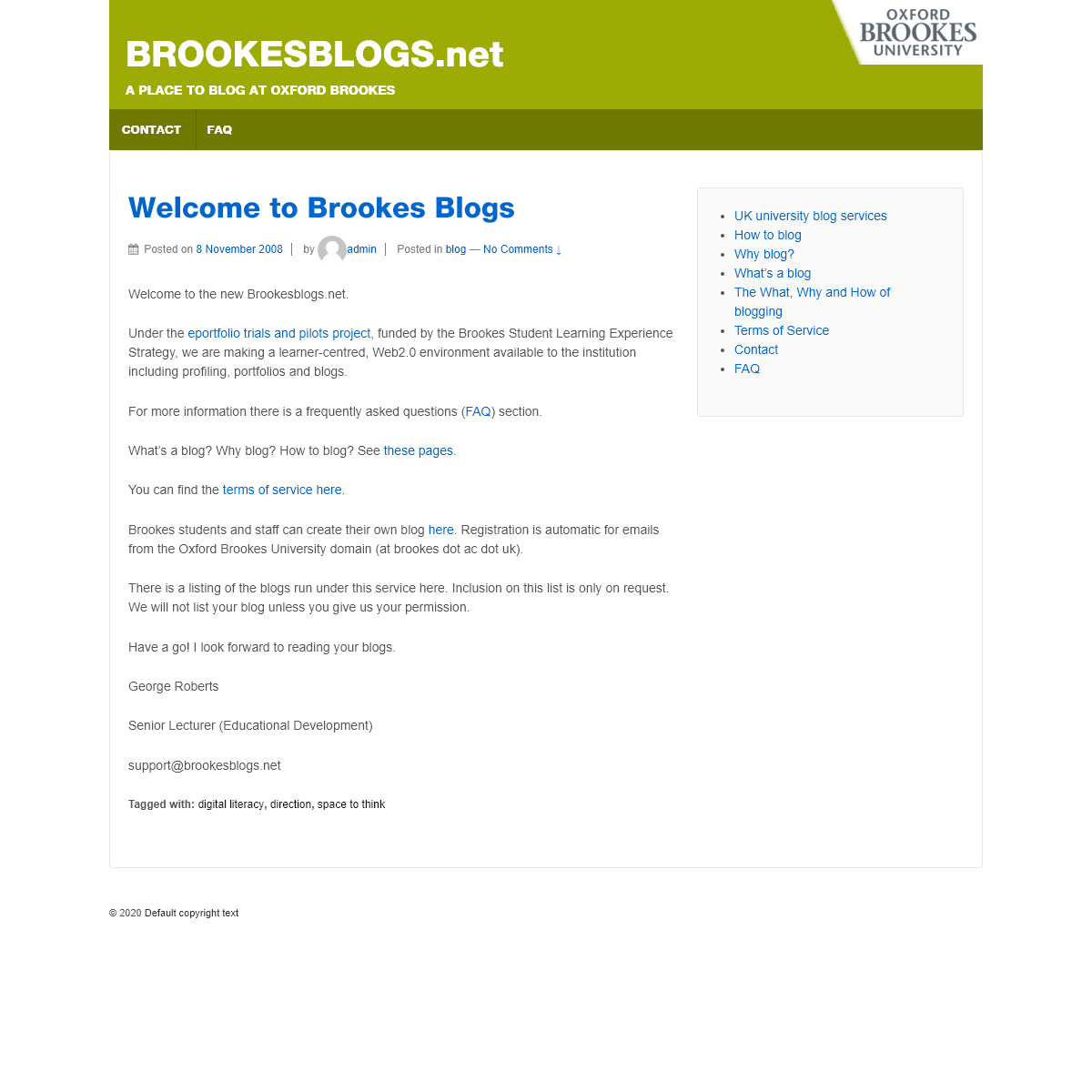 BROOKESBLOGS.net - A Place to Blog at Oxford Brookes
