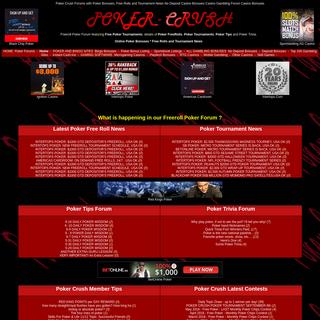 Freeroll Poker Forum - Poker Crush - Tournaments Schedules No Deposit Needed