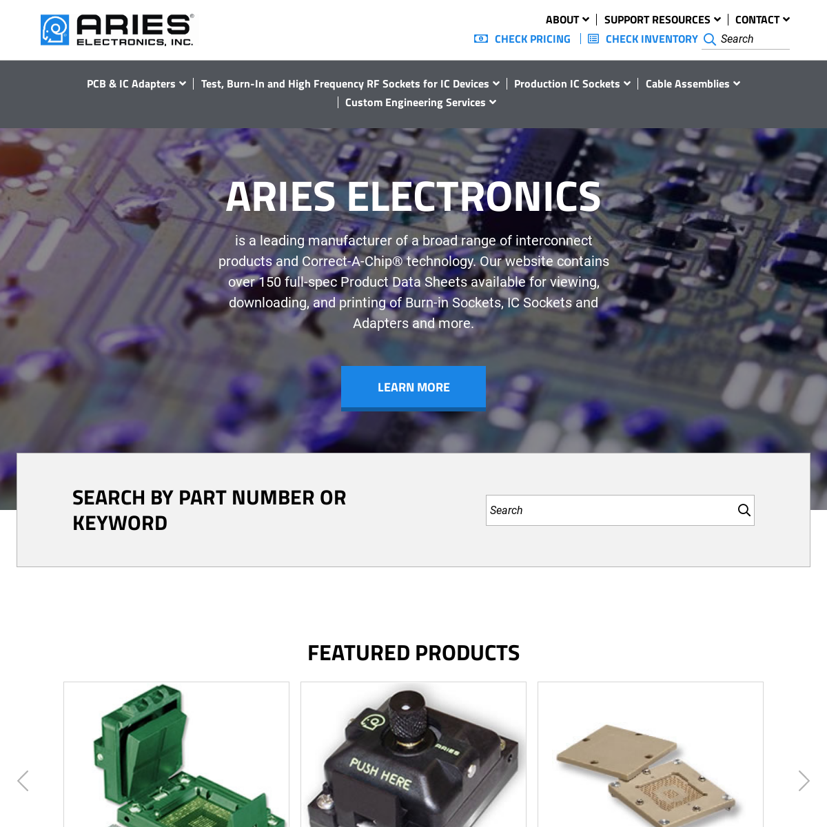 Aries Electronics - Sockets and Adapters for Semiconductor Test and Burn-in