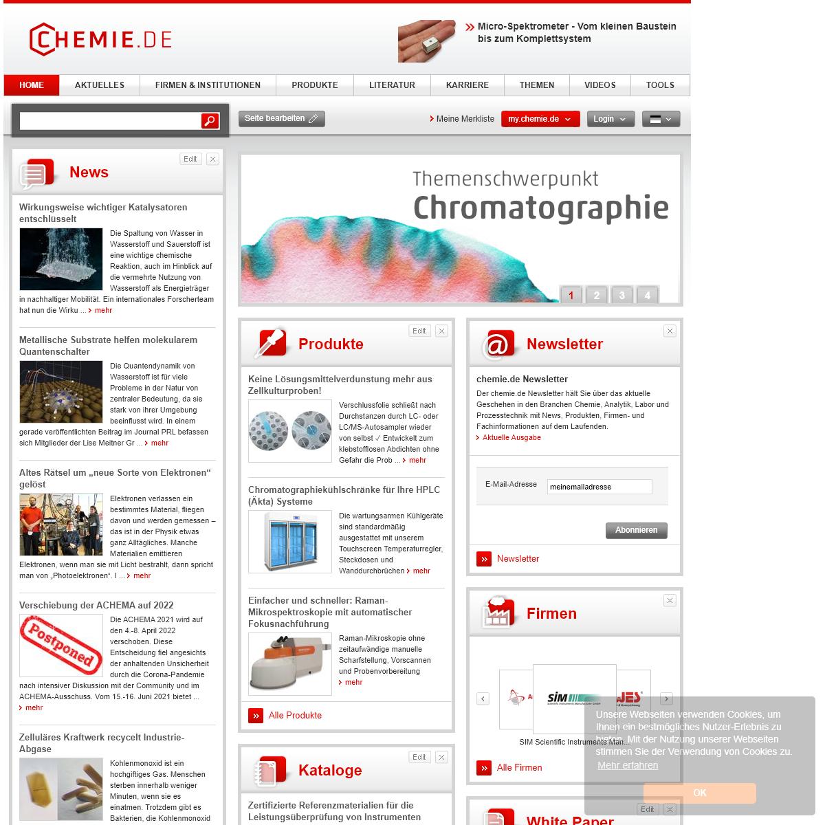 chemie.de - Das Chemie Fachportal vom Labor bis zum Prozess