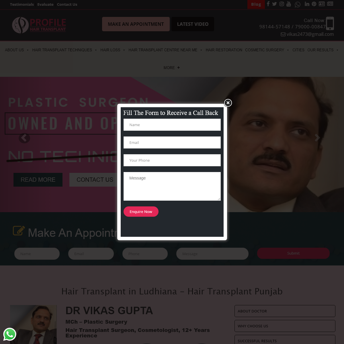 Hair Transplant - Hair Transplant Cost in Punjab, Ludhiana