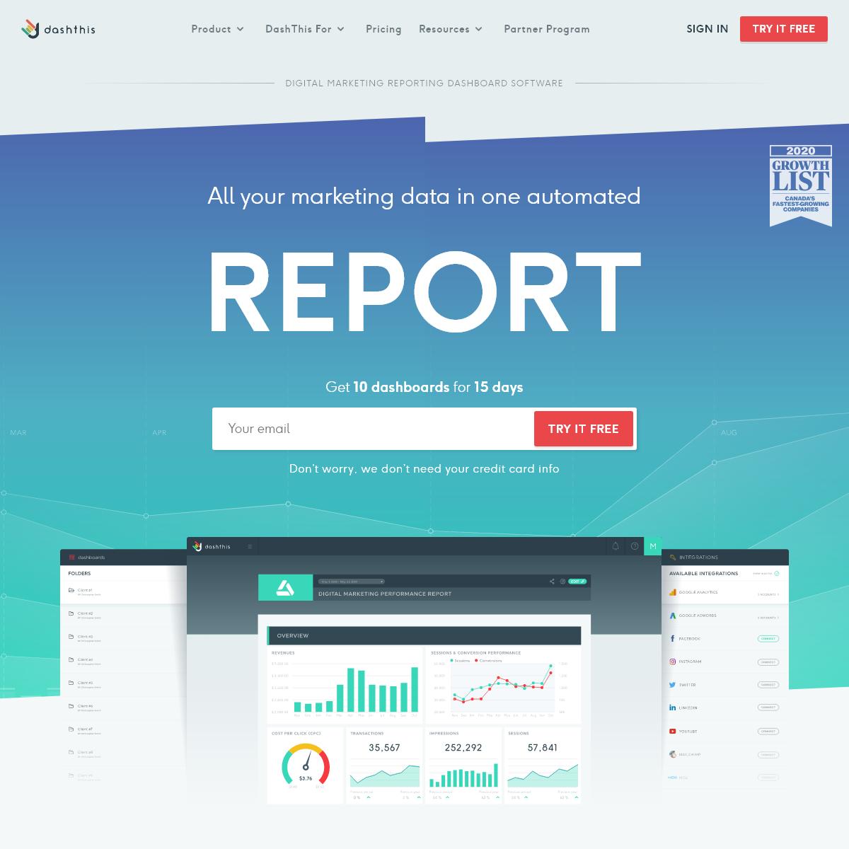 Marketing Reporting Dashboards For Analytics, SEM & SEO - DashThis