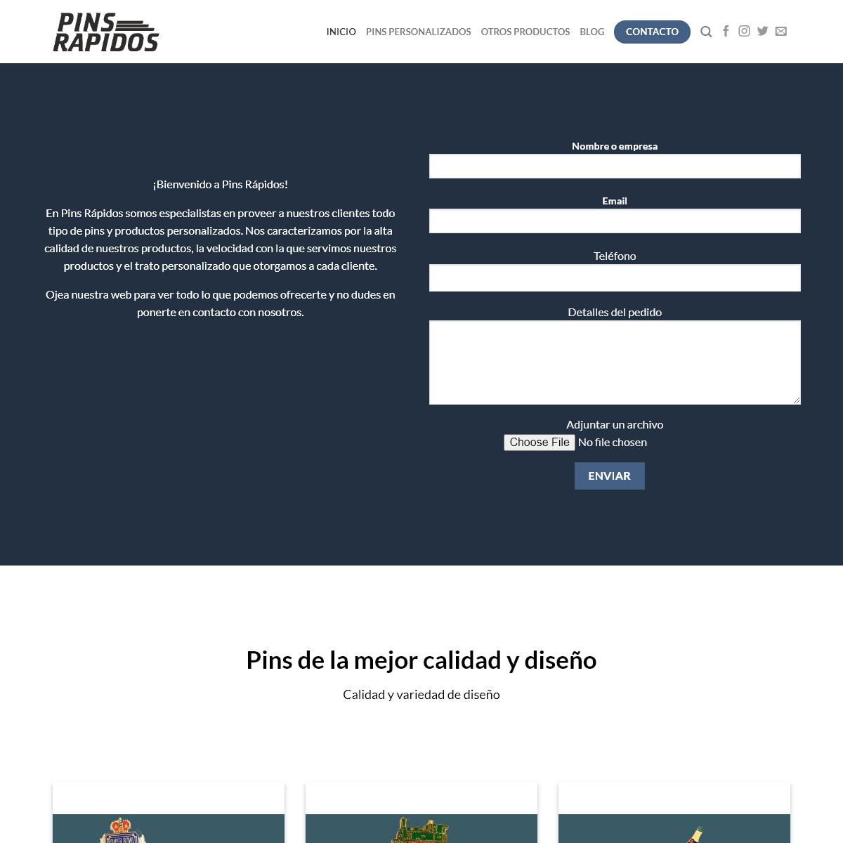 Pins personalizados y productos publicitarios en Pinsrapidos