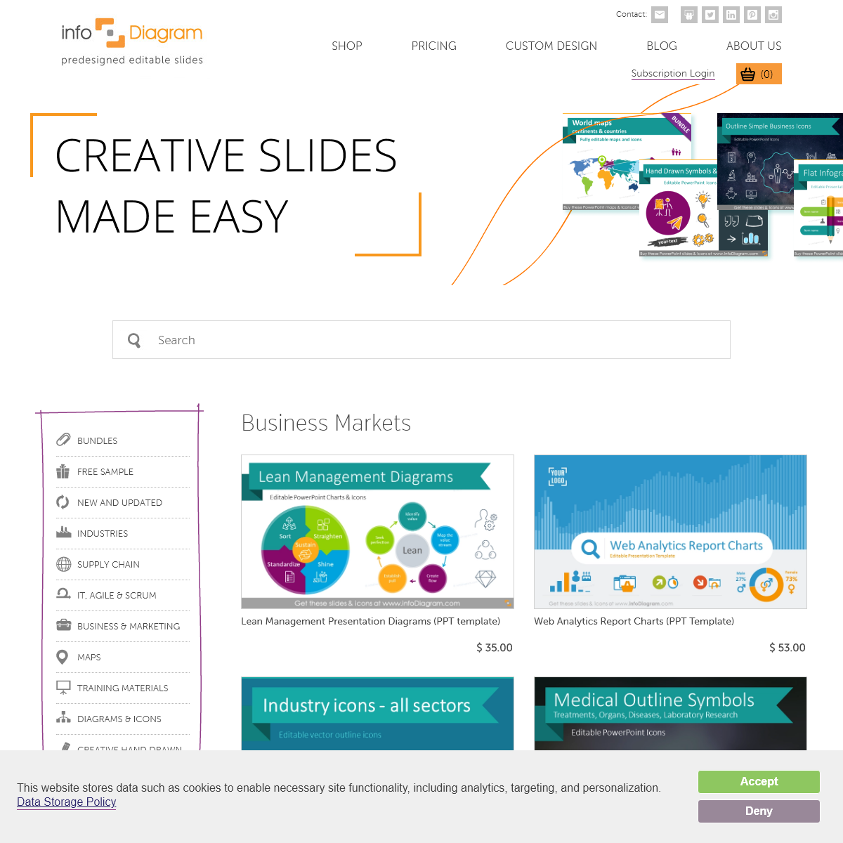 Predesigned presentation slides and graphics - InfoDiagram