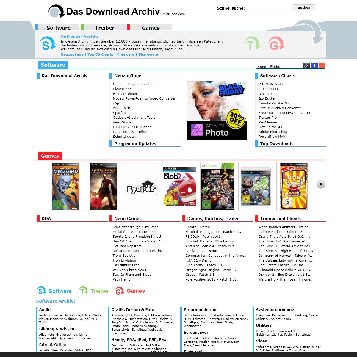 Das Download Archiv - Software - Treiber - Games -DDA