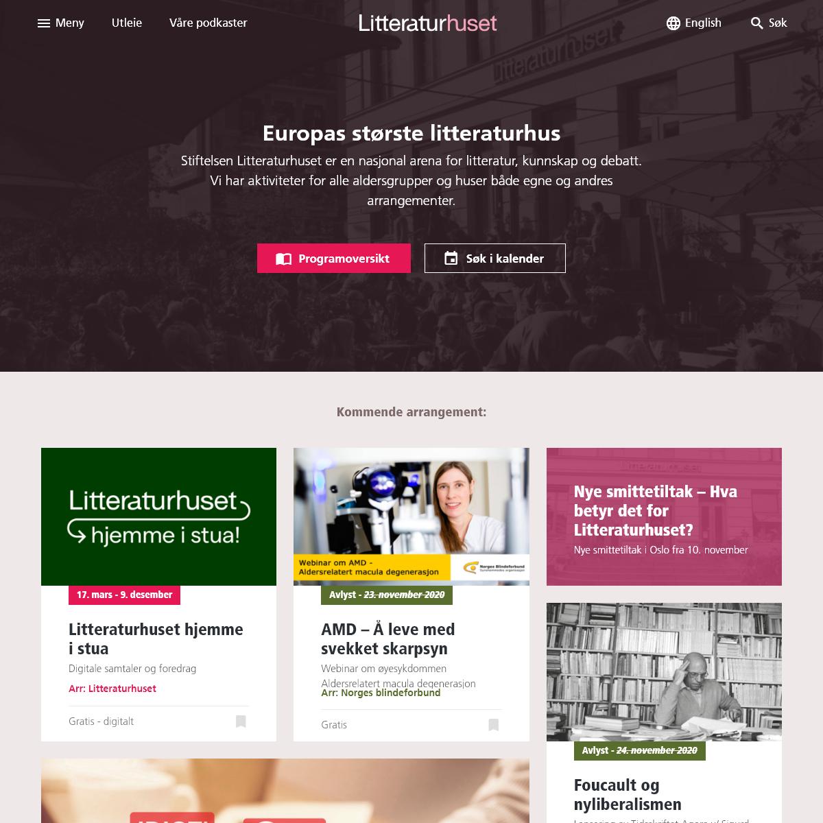 Litteraturhuset – Stiftelsen Litteraturhuset er en nasjonal arena for litteratur, kunnskap og debatt. Vi har aktiviteter for a