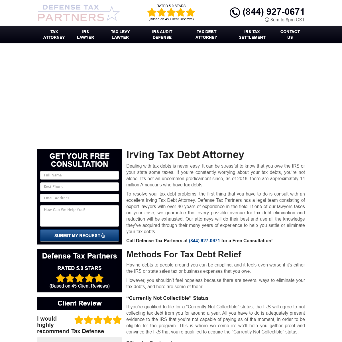 Tax Debt Attorney Irving, TX - Experienced Local Tax Debt Lawyer Near Me