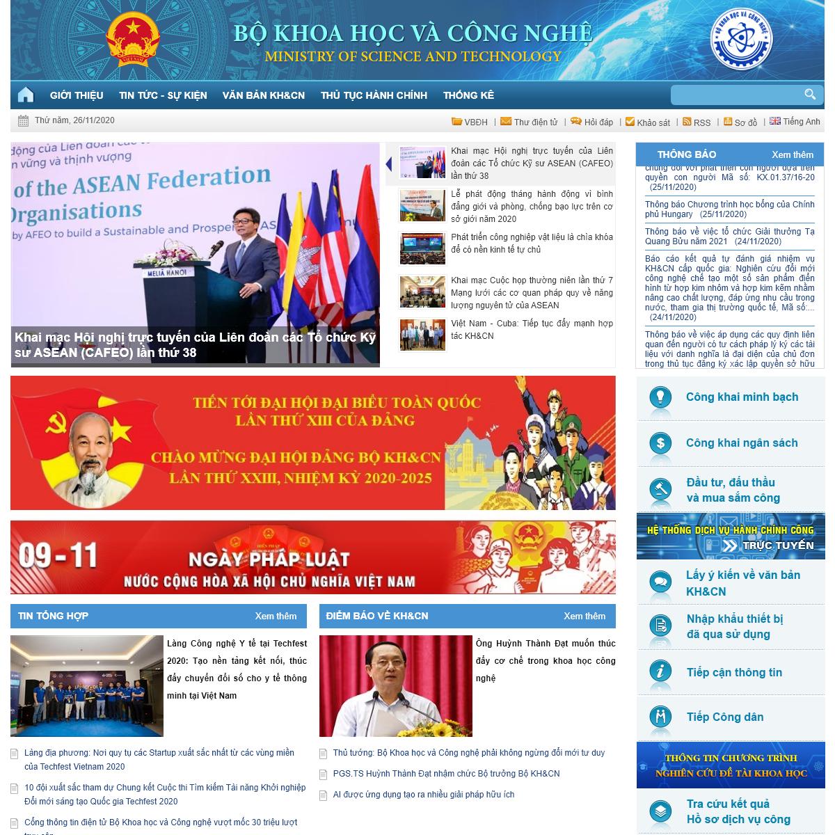 Cổng TTĐT Bộ Khoa học và Công nghệ
