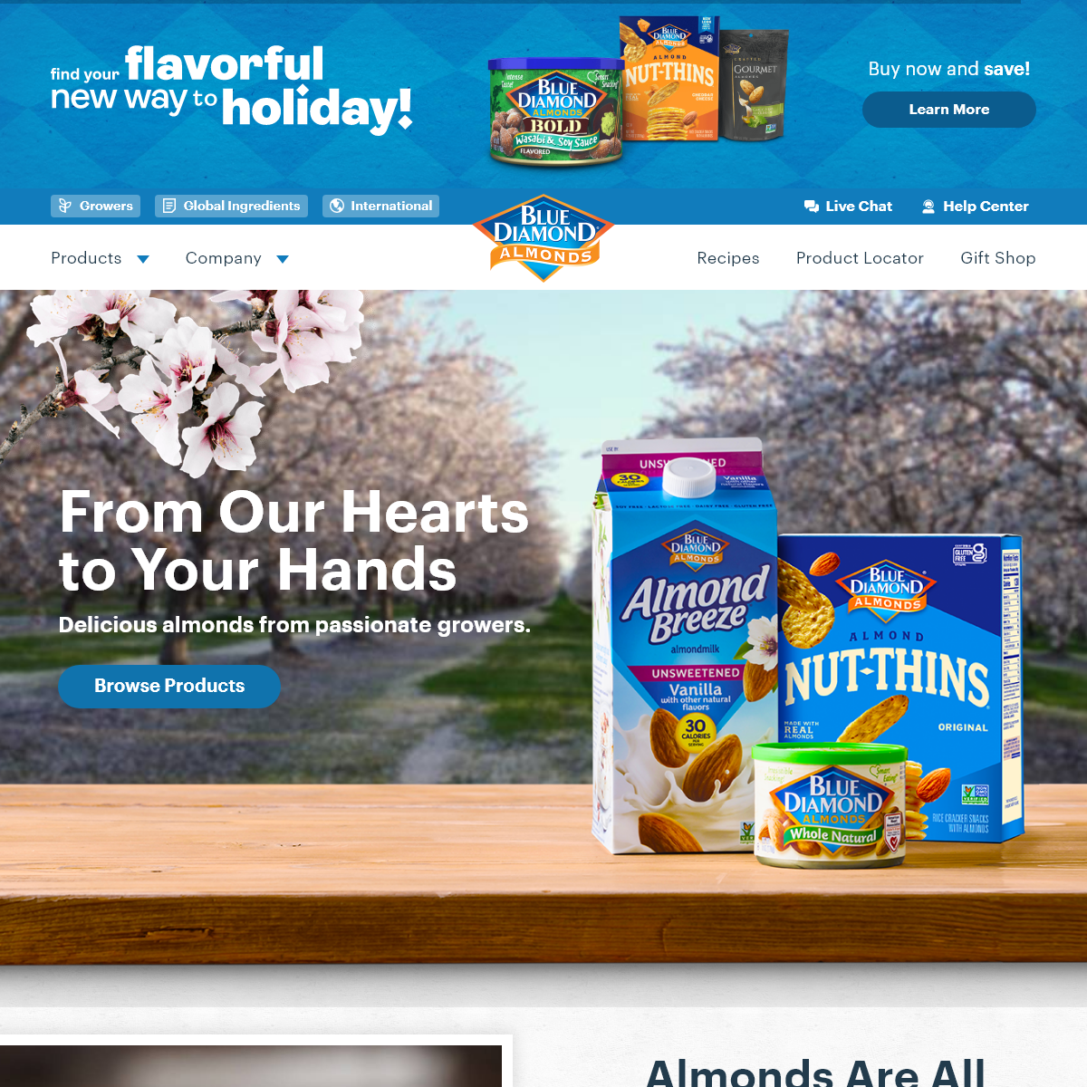 From Our Hearts to Your Hands - Almond Products - Blue Diamond