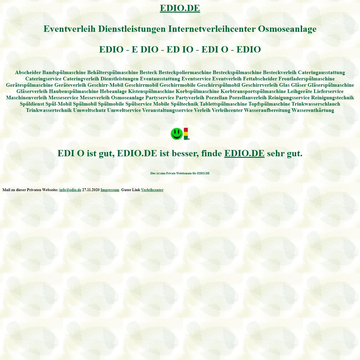 edio Eventverleih Dienstleistungen verleihcenter Osmoseanlage Spülmobil Verleih Geschirrmobil Mieten
