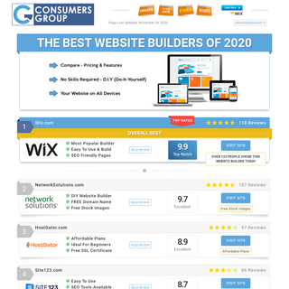 Best Website Builders Updated November 2020 - Consumers Group