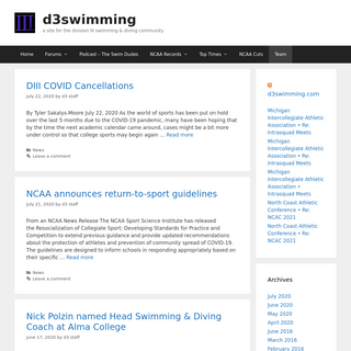 d3swimming - a site for the division III swimming & diving community