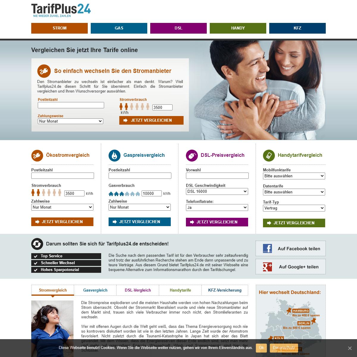 Tarifplus24.de vergleicht Strom, Gas, Handy, DSL und Kfz-Tarife