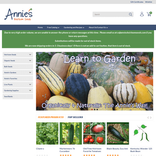 Annie`s Heirloom Seeds - Hundreds Of Heirloom, Organic, and NonGMO Vegetable and Flower Seeds
