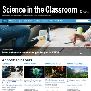 Science in the Classroom - Annotated research papers and accompanying teaching materials