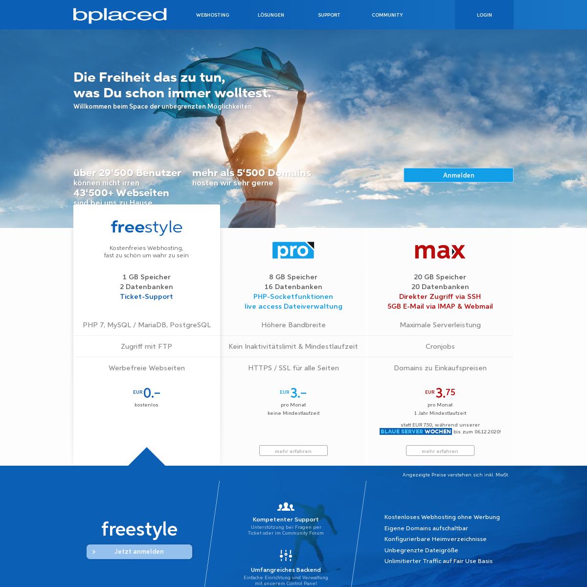bplaced - SSD-NVMe Webspace & Webhosting