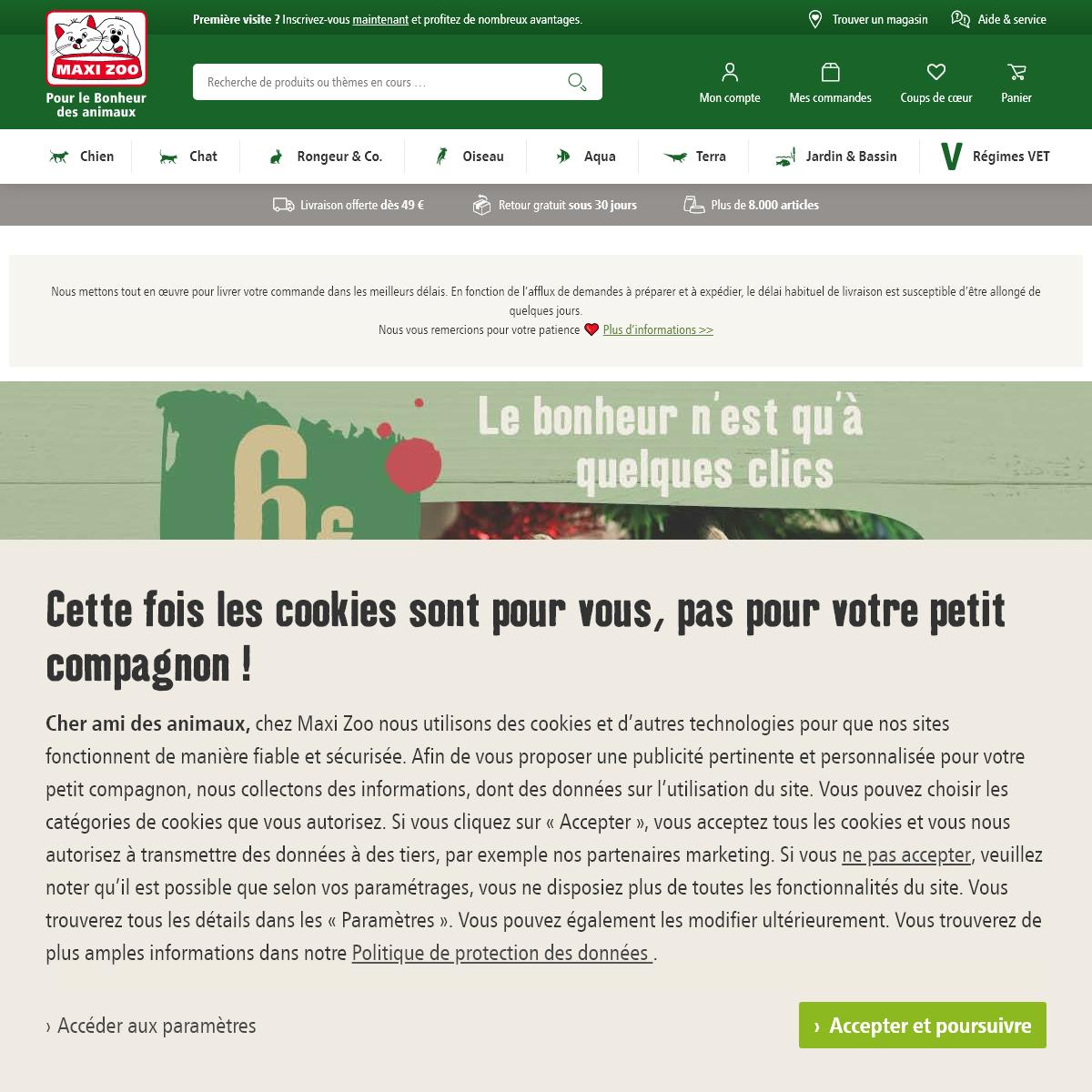Animalerie en ligne - produits pour animaux - MAXI ZOO