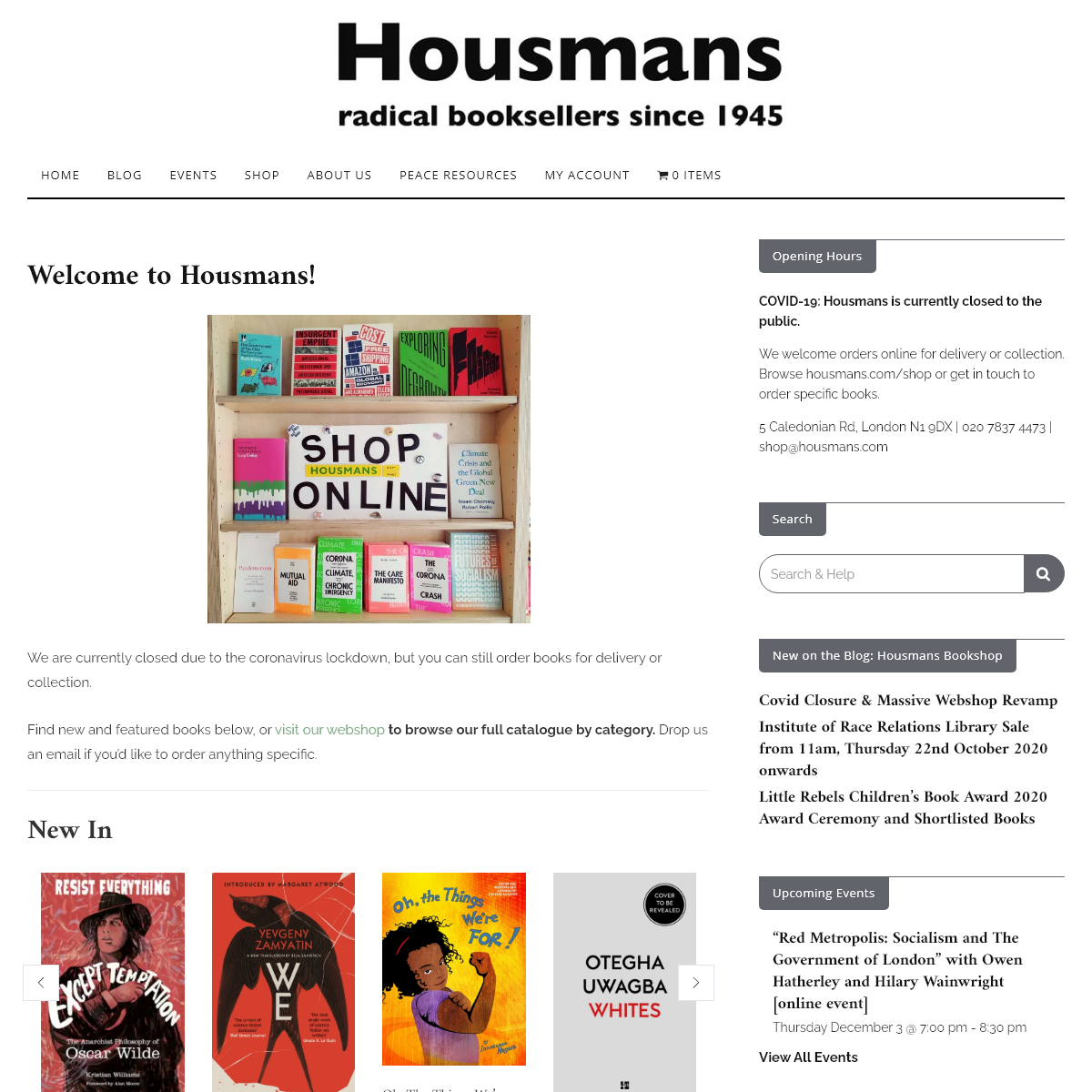 Housmans Bookshop – We are a not-for-profit bookshop, specialising in books, zines, and periodicals of radical interest and pr
