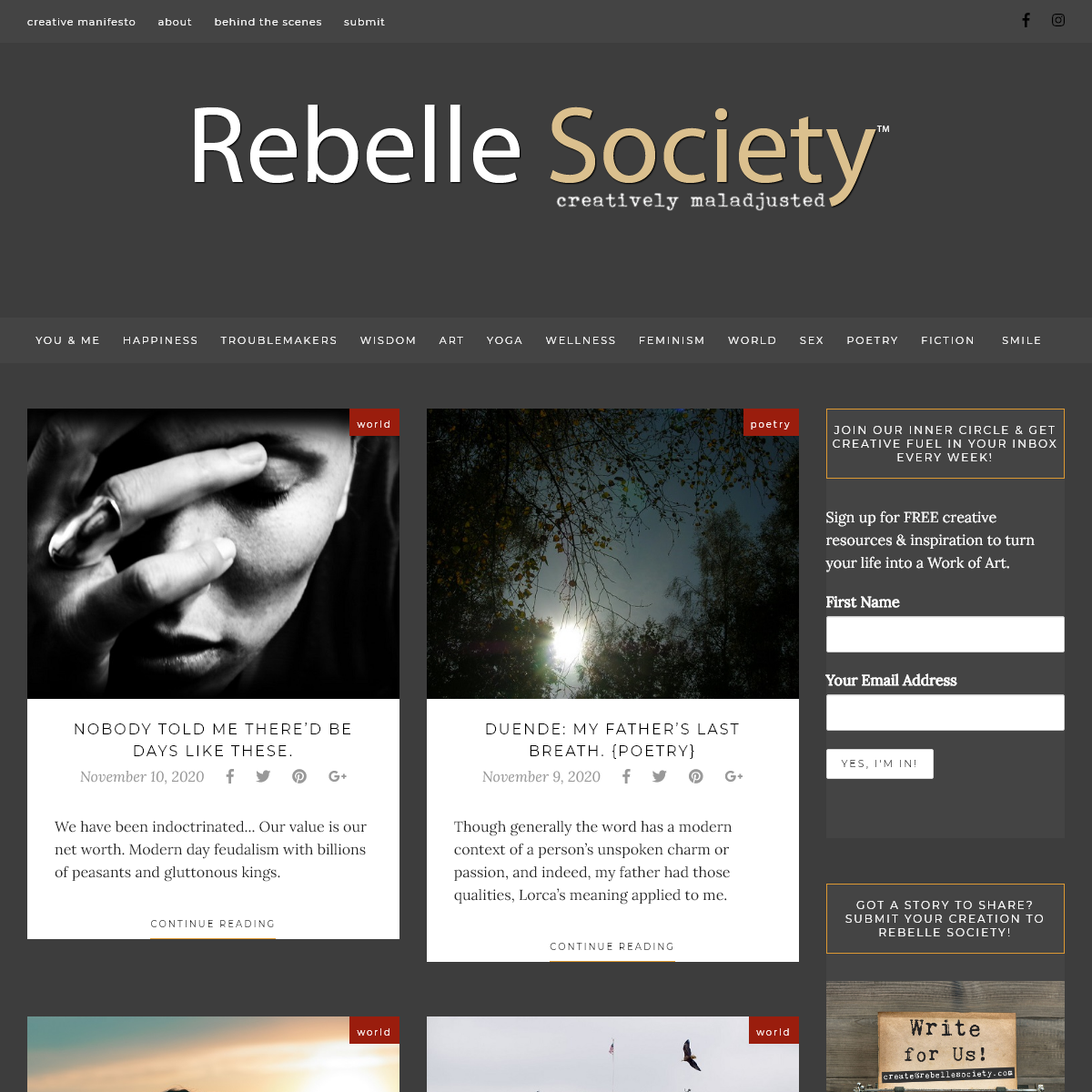 Rebelle Society - for the creatively maladjusted