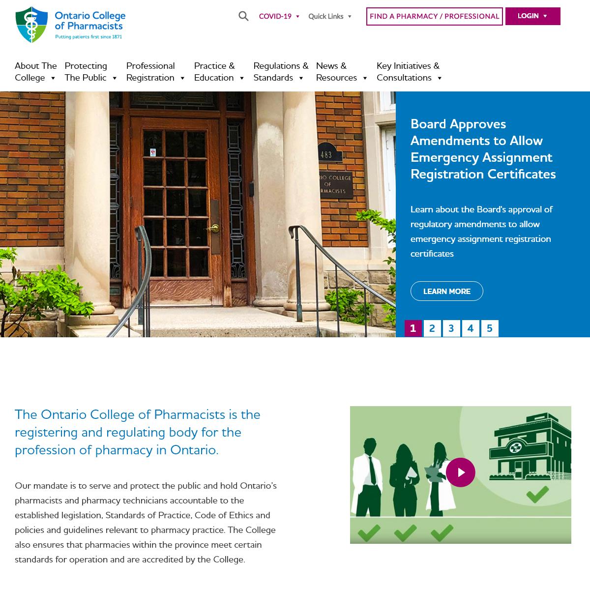 OCPInfo.com – Ontario College of Pharmacists