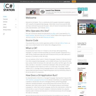 Tutorials, Links and Articles About C# - C# Station