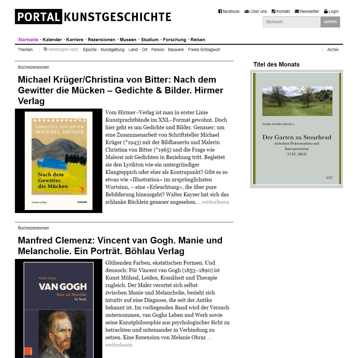 Startseite -- Portal Kunstgeschichte – Das Informationsportal für Kunsthistoriker im deutschsprachigen Raum