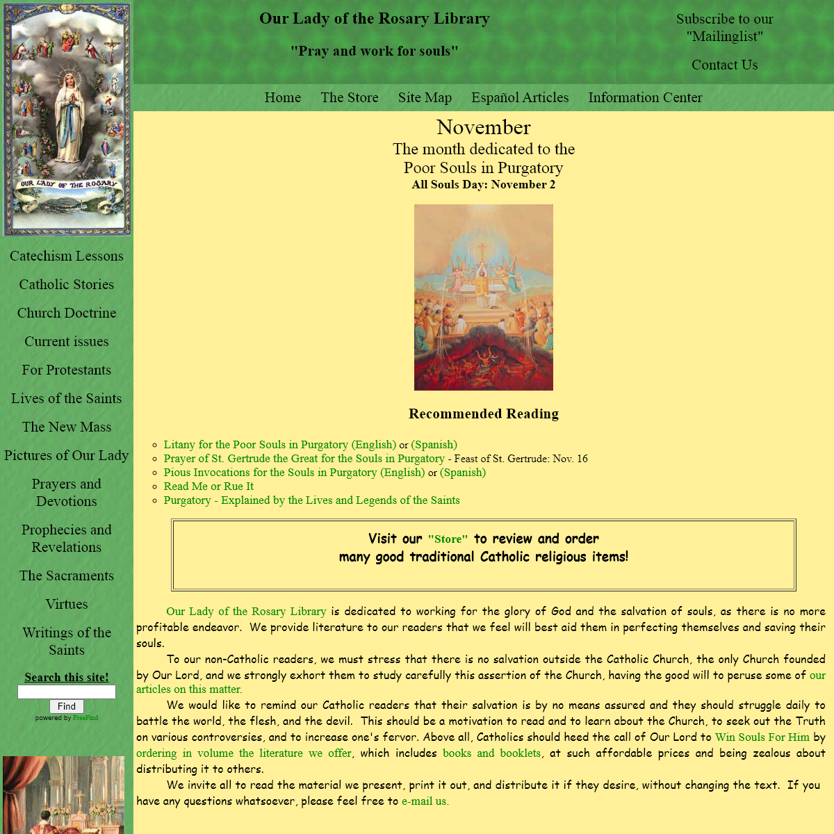 Our Lady of the Rosary Library Traditional Catholic Homepage