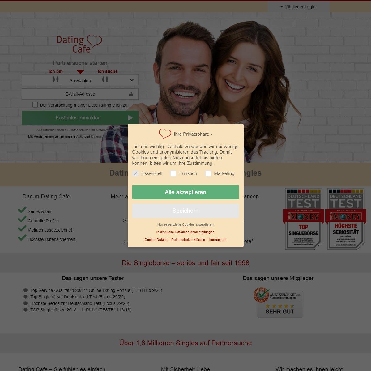 Dating Cafe - Partnersuche bei der vielfachen Testsieger-Singlebörse