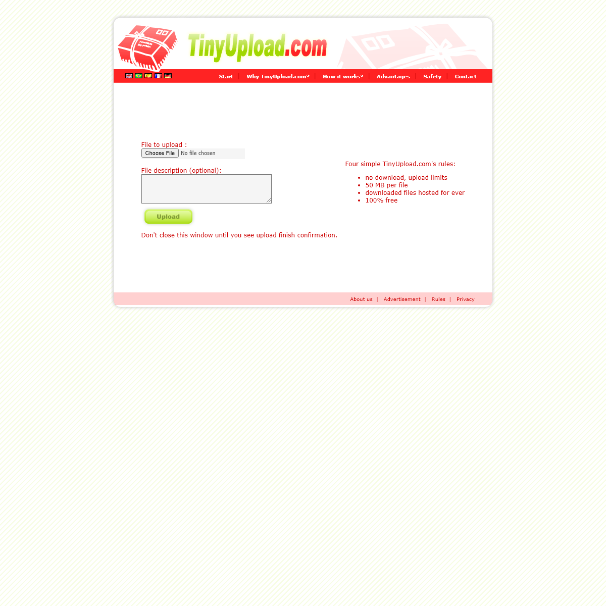 TinyUpload.com - best file hosting solution, with no limits, totaly free