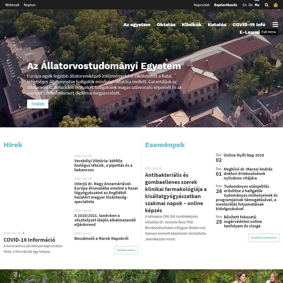 Kezdőlap – Állatorvostudományi Egyetem