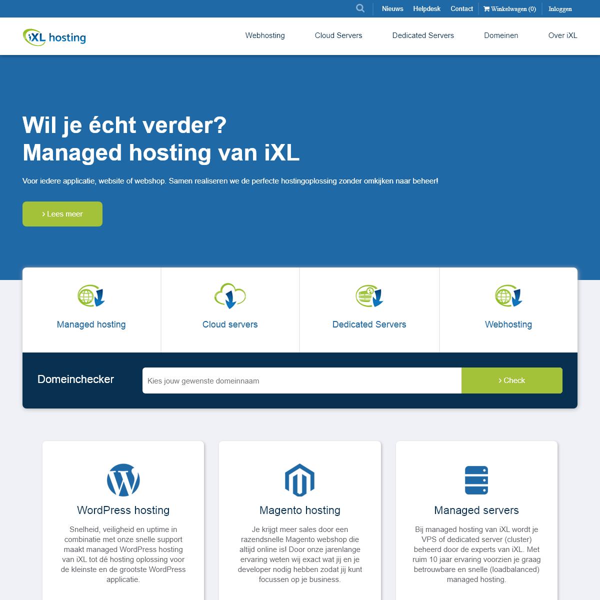 iXL Hosting B.V. - Shop Webhosting, (managed) Cloud En Dedicated Servers