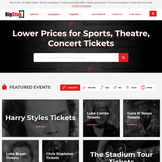 BigStub - Lower Prices for Sports, Theatre, Concert Tickets