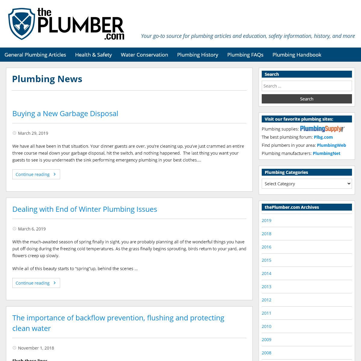 thePlumber.com- Plumbing information, history, & more