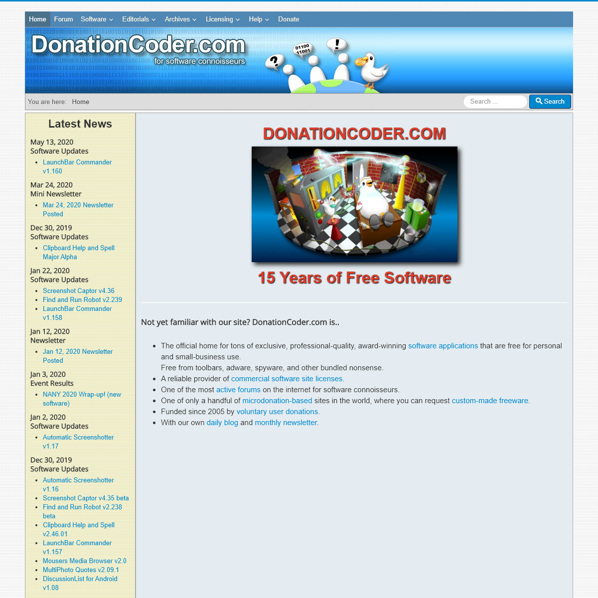 For Software Connoisseurs - Homepage - DonationCoder.com