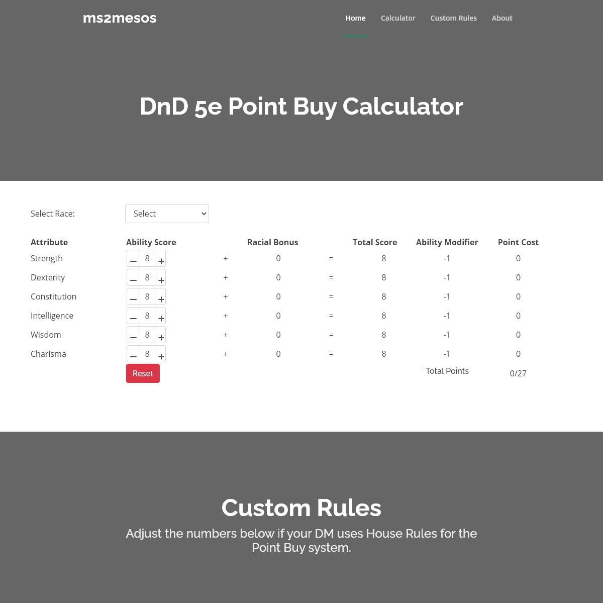 DnD 5e Point Buy Calculator - Ms2mesos